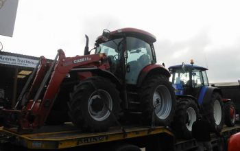 Case-IH Maxxum 100 c/w Loader being delivered to Iceland